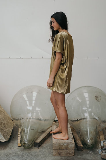 BUBBLE DRAPE TOP IN GOLD