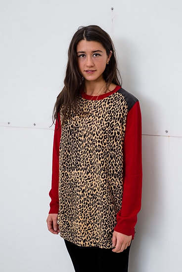 Leopard, Red & Black Leather
