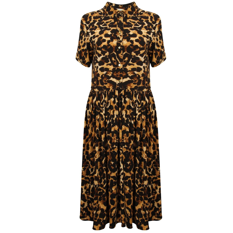 The Leopard Gold Button Dress