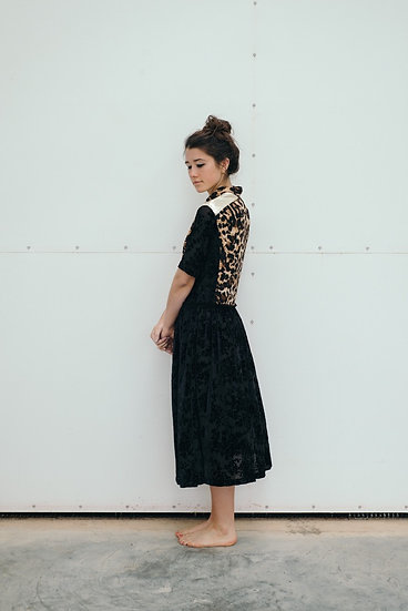 DIANA DRESS LEOPARD & BLACK LACE WITH GOLD
