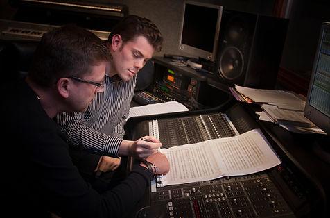 two men in music studio