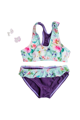 Two Piece Spring Floral & Aubergine