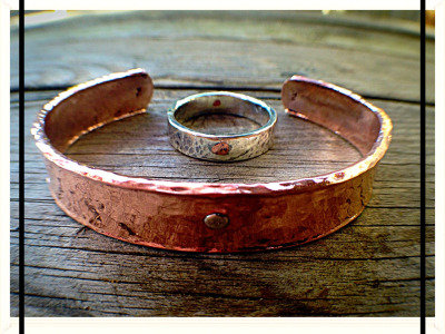 Hand Wrought Copper Cuff  & Silver Ring Set