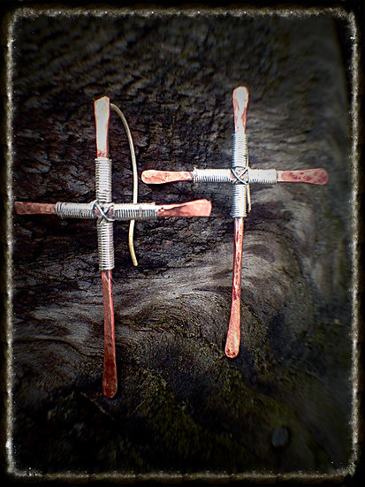 Hammered Copper Crucifix Earrings