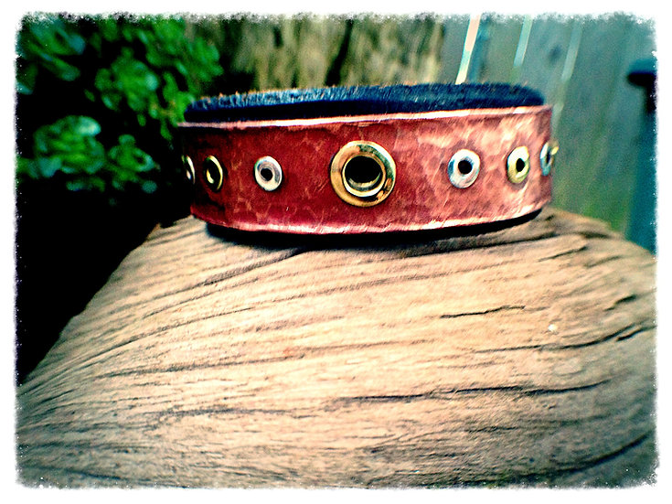 Copper & Leather  with Brass and Silver Rivets
