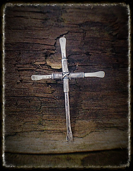 Hammered Silver Crucifix Earrings