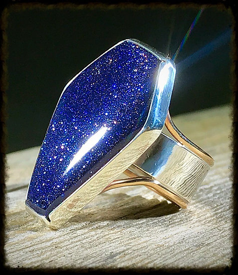 Silver and Bronze Coffin Ring w/Blue Goldstone