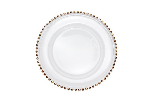Glass Gold Beaded Charger Plate