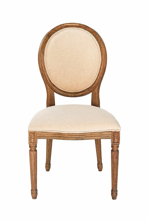 Louis XIV Oak Wood Fabric Chair