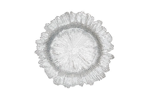 Silver Floral Charger Plate