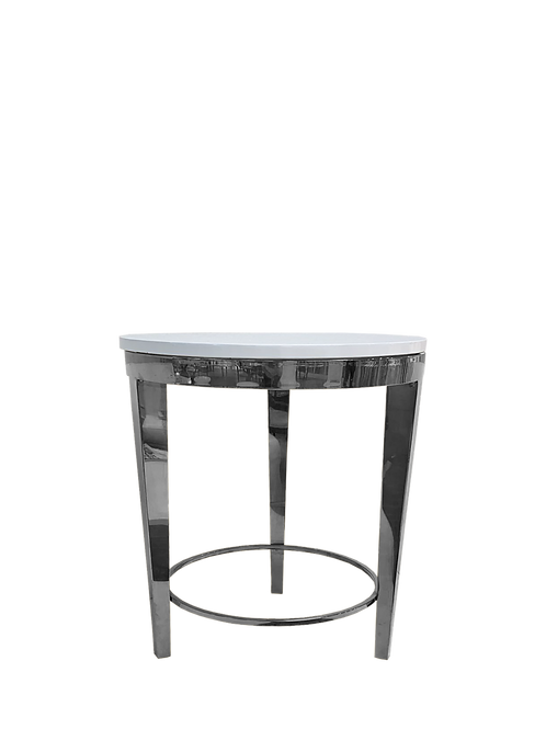 White and Silver Roma End Table