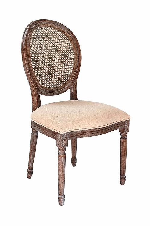 Louis XIV Oak Wood Rattan Chair
