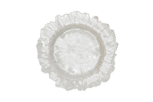 White Floral Charger Plate