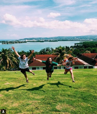Chi Omega Freshman Savannah Soles (middle) and Payton Perez (right) in Montego Bay