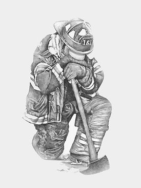 Firefighter memorial B&W illustration