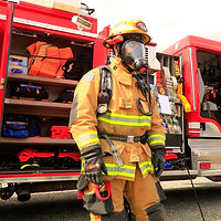 Fire District #18 fire fighter in full gear
