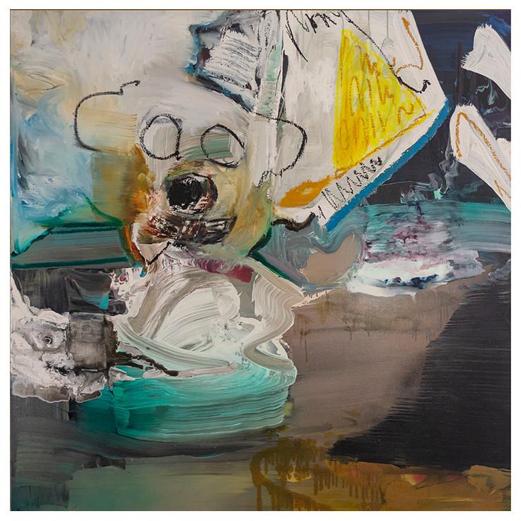De beer is los is een olieverf schilderij.Het schilderij is abstract met een knip oog naar de figuratie