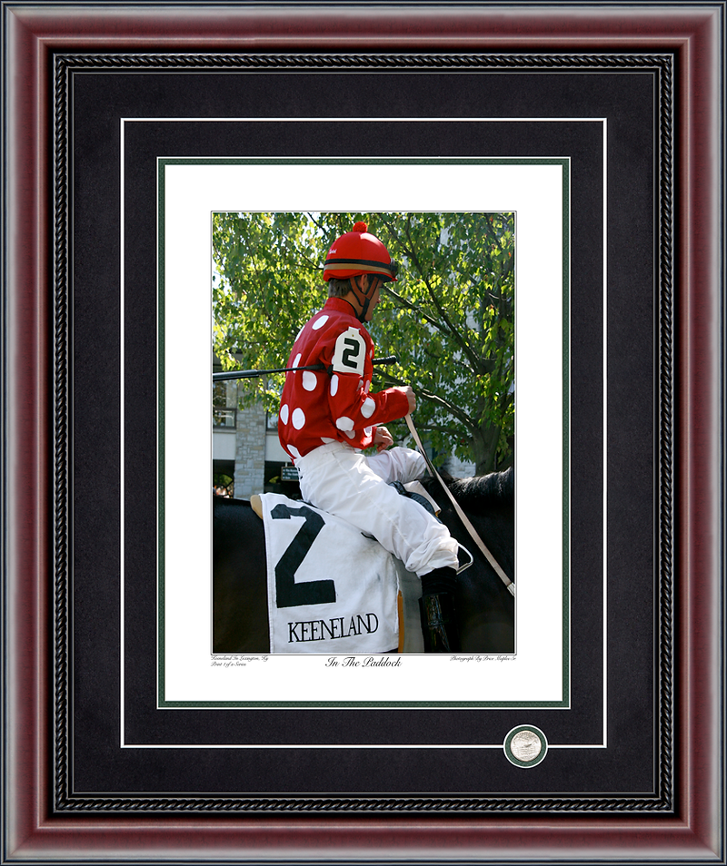 In The Paddock Signed And Numbered Photograph By Price Maples Sr. Framed By Price Maples Sr. Art & Framing Custom Frame Shop And Art Gallery In Lexington, Ky
