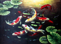 Koi Fish Oil Paintings At Price Maples Sr. Art & Framing Custom Frame Shop And Art Gallery In Lexington, Ky