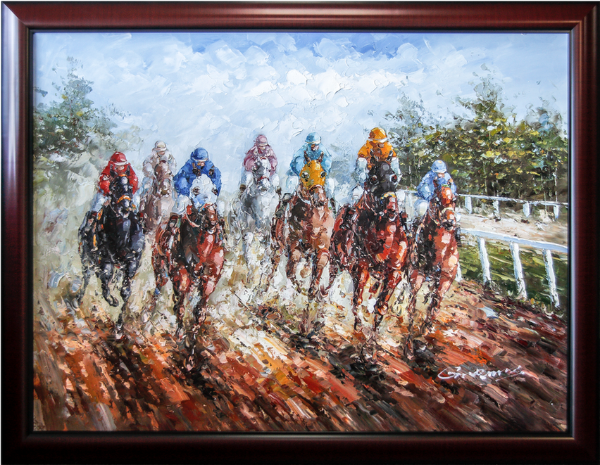Horse Racing Oil Paintings At Price Maples Sr. Art & Framing Custom Frame Shop And Art Gallery In Lexington, Ky