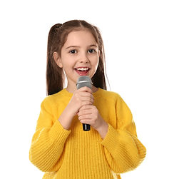 Little girl singing into microphone on w