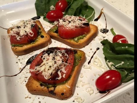 Tomato, Basil Appetizers (Gadget Mini cheese/fruit zester)