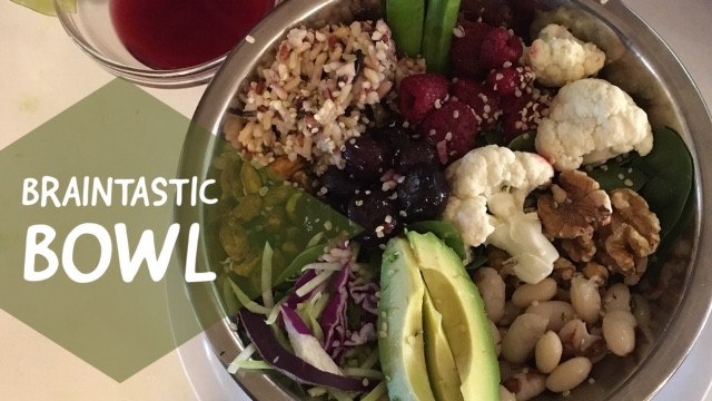 Braintastic bowl with foods to keep brain young