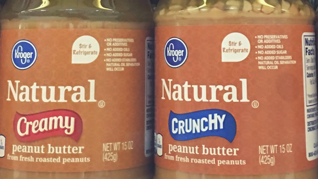 The word natural on peanut butter labels