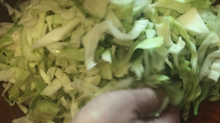 Prepping cabbage for sauerkraut
