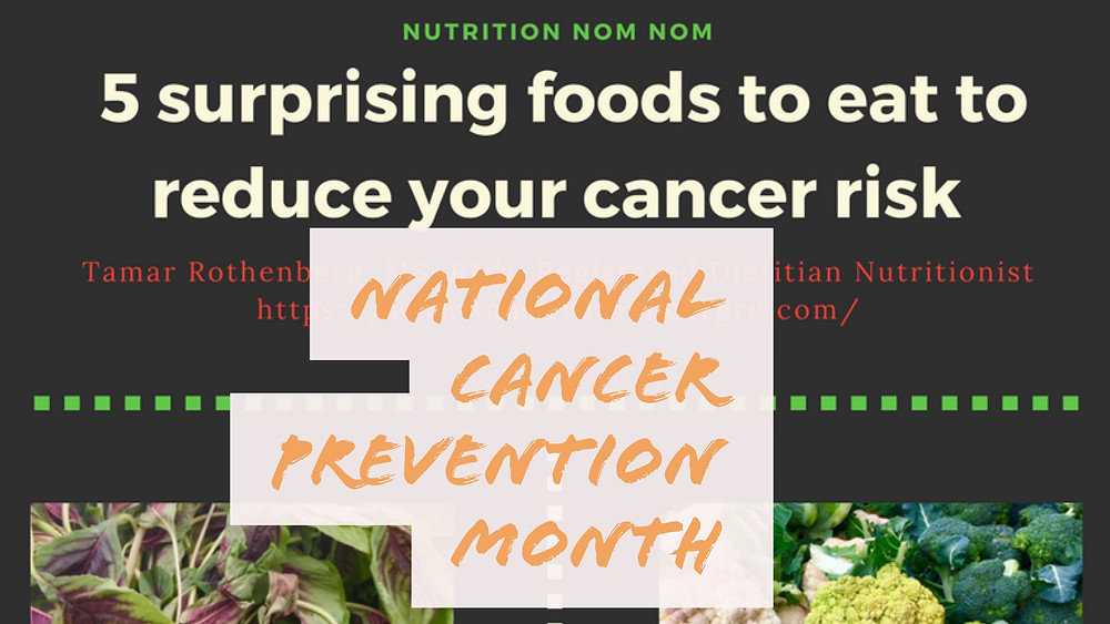 Graphic for free handout on foods to eat to reduce cancer risk