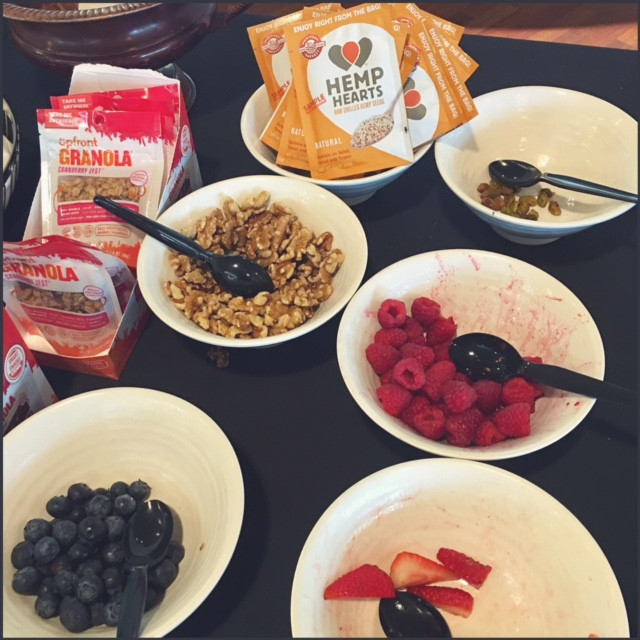 A nutritious breakfast with hemp seeds, berries, and nuts