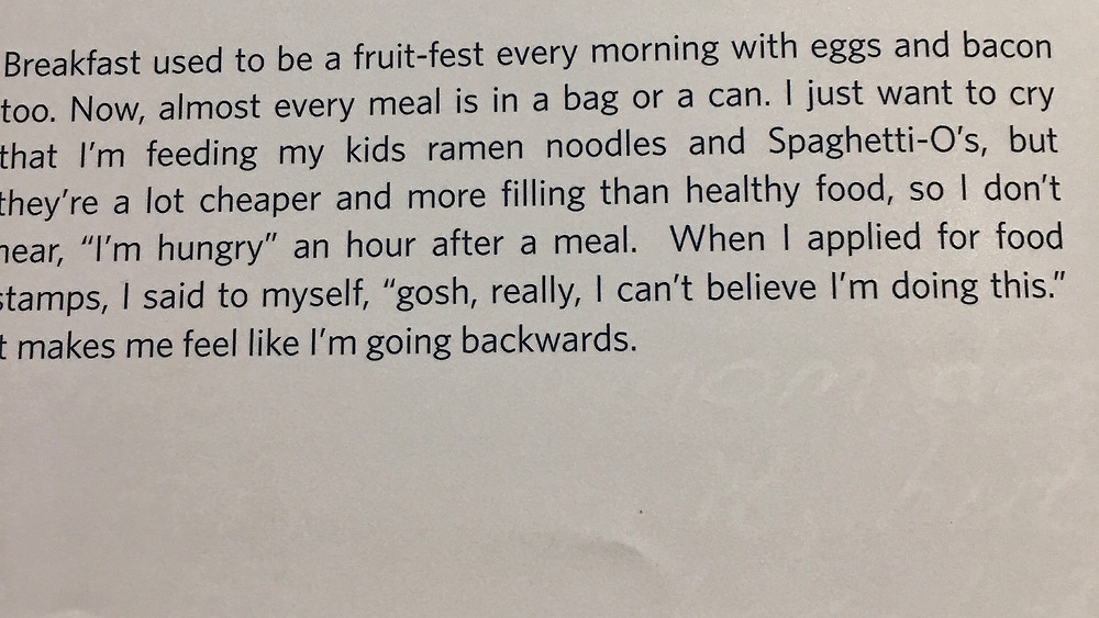 Quote from a mother who says she feeds her children filling food because of hunger.