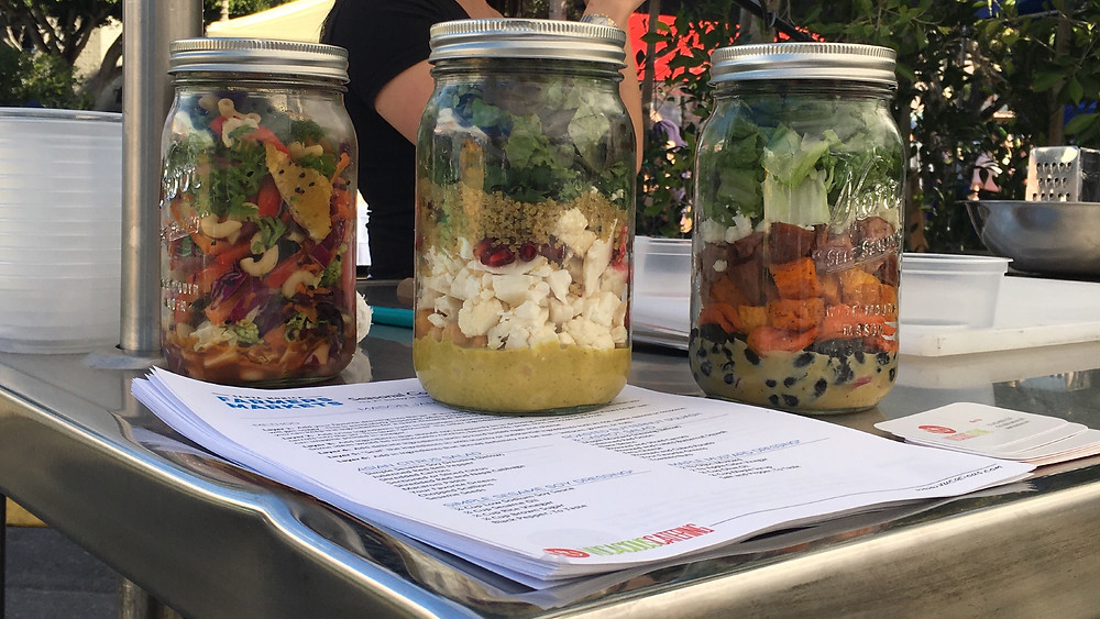Three mason jar salads