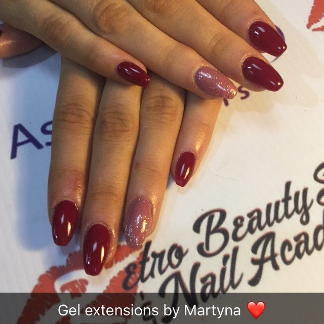 Gel extensions by Martyna 💅🏼 #royalred #flirtini #crystalball #astonishingnails