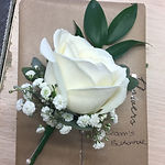 white rose gyp grooms buttonhole