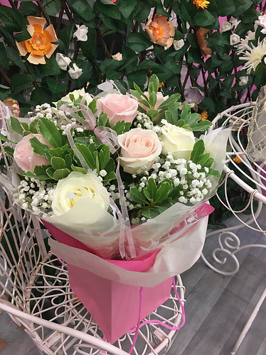 Blush Pink and White Roses