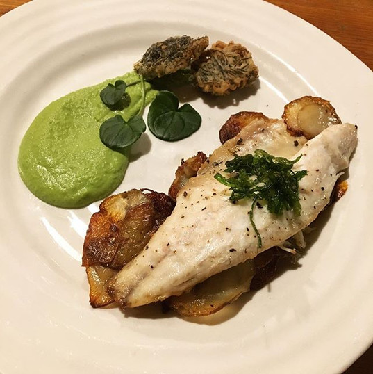 "Sea Bass with crispy fried Gutweed on golden potatoes; Pea and Scurvygrass ""Wasabi"" purée; Dumont's Tubular Weed tempura.jpg"