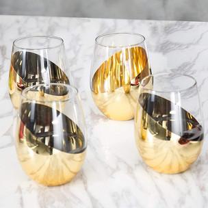 Gold stemless wine glasses