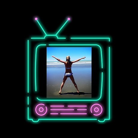 TV Neon Light Square Laptop Sticker (1).