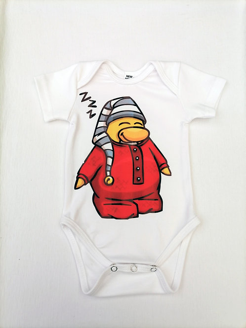 Sleepy Penguin Printed Baby Onesie Short Sleeve