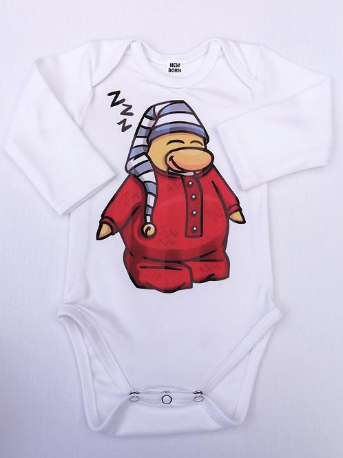 Sleepy Penguin Printed Baby Onesie Long Sleeve