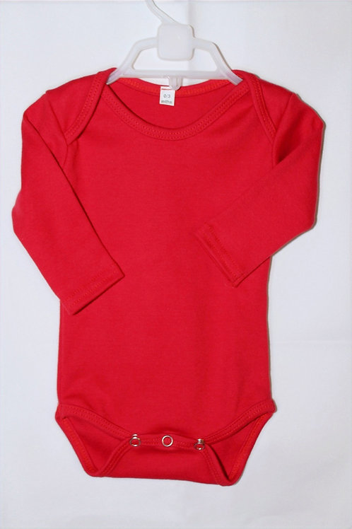 100% Cotton Baby Onesie Red Long Sleeve