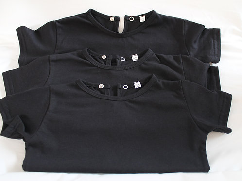 BABY TSHIRT BLACK SHORT SLEEVE STUD COLLAR 100% COTTON