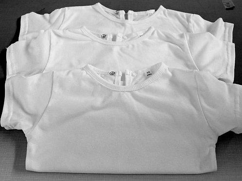 BABY TSHIRT WHITE SHORT SLEEVE 100% COTTON STUD COLLAR