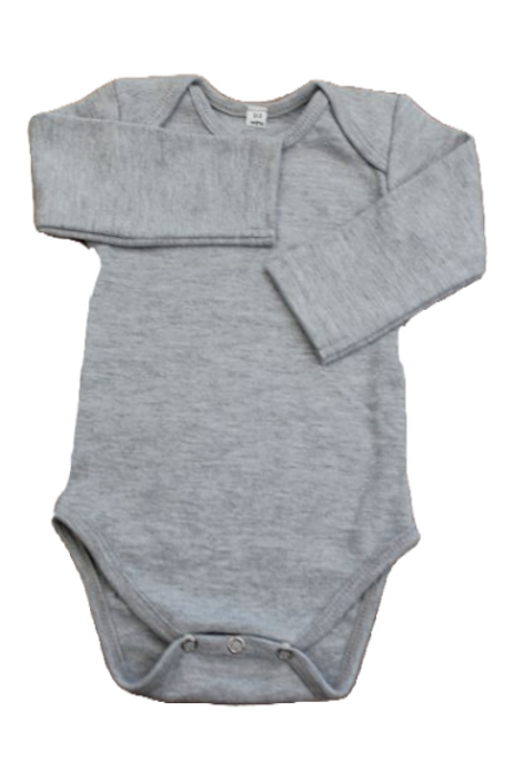 BABY ONESIE GREY LONG SLEEVE