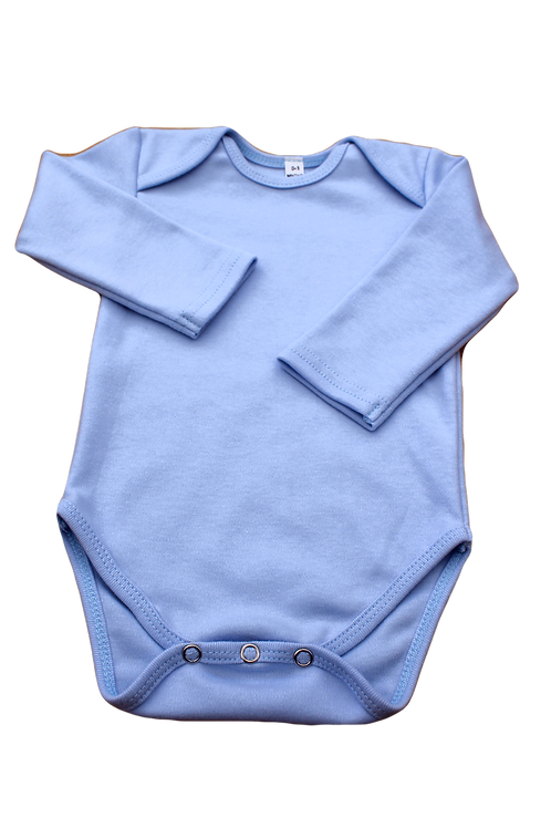 100% Cotton Baby Onesie Blue Long Sleeve