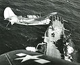 VB-11 Bombing Squadron with SB2C Helldiver landing on USS Hornet (CV-12) aircraft carrier during WWII