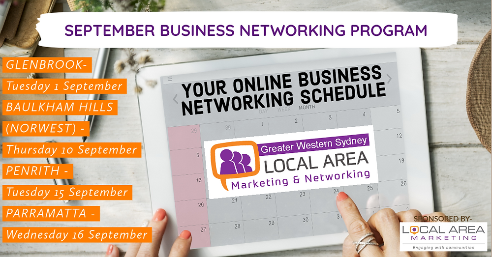 Local Area Marketing & Networking September schedule