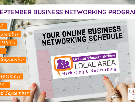 Greater Western Sydney September Business Networking Schedule