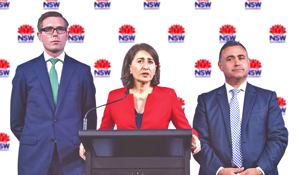 (l-r ) NSW Treasurer Dominic Perrottet with NSW Premier Gladys Berejiklian and Deputy Premier John Barilaro.